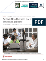 05-13-2016 Advierte Neto Robinson Que Tendrá Mano Firme en Su Gobierno