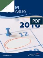 Unisa Provisional Examination Timetable 2016