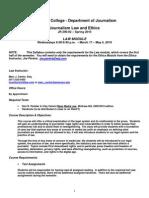 Syllabus - Law Module Jr 290-02 Spring 20100