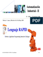 Lenguaje RAPID. Robotics Application Programming Interactive Dialogue. Automatización Industrial - II. 56 10569 2º Cuatrimestre 2006