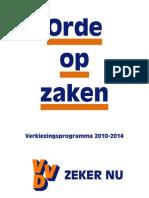 VVD Verkiezingsprogramma 2010 - 2014