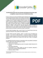 Consideraciones Acerca Del Nuevo Decreto de Emergencia Económica Sobre Su Legalidad y Repercusiones Para El Estado Democrático