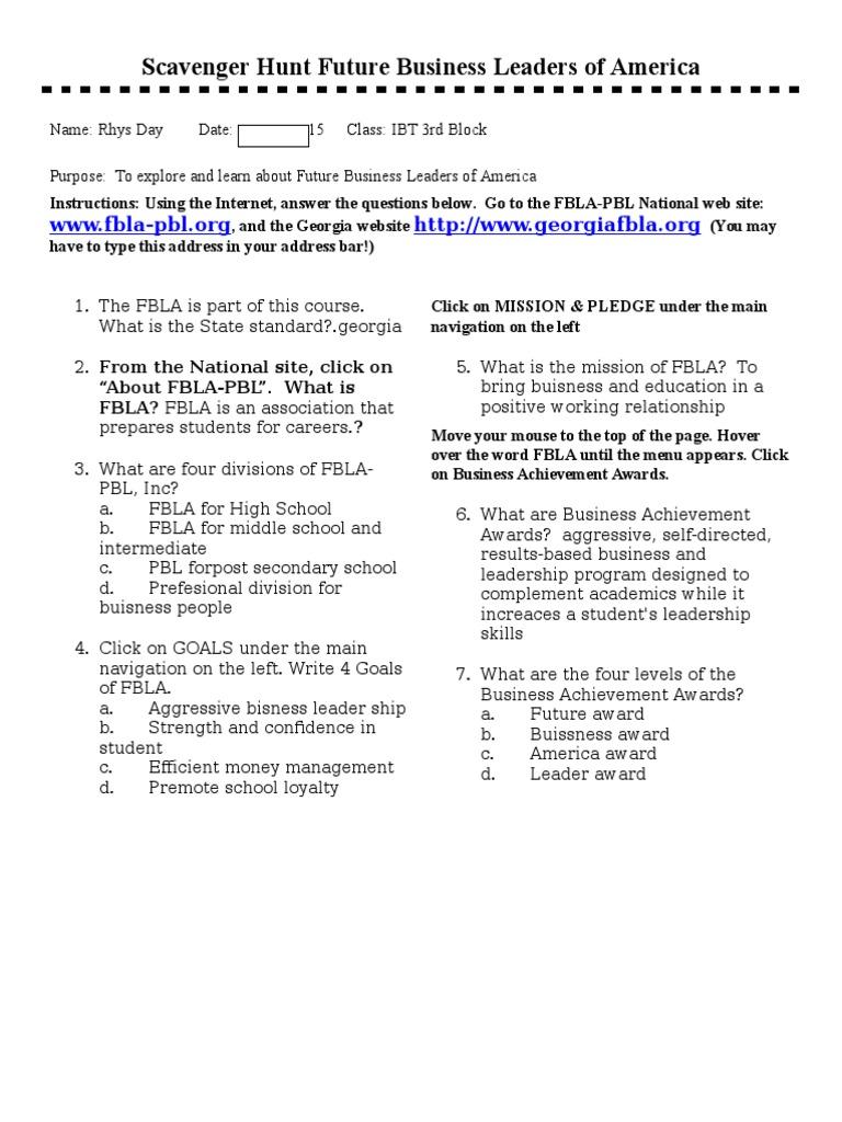 Fbla Internet Scavenger Hunt 17 2 Leadership Mentoring Leadership