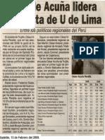 Satélite 13-02-09 Alcalde Acuña lidera encuesta de U de Lima