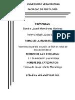 Investigacion Educativa Deficit de Atencion