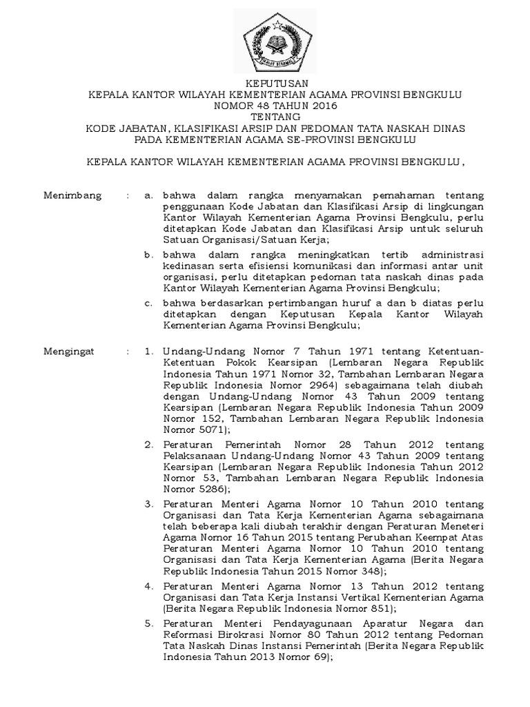 Kode Klasifikasi Surat Kementerian Agama 2016 - Kumpulan ...