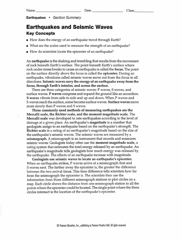 Worksheets Earthquakes And Seismic Waves Worksheet earthquakes seismic waves worksheet pdf