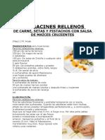 CALABACINES RELLENOS DE CARNE, SETAS Y PISTACHOS CON SALSA DE MAÍCES CRUJIENTES