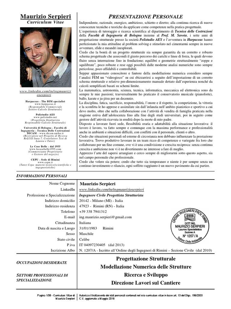 CV Ing Maurizio Serpieri