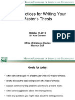 Best Practices for Writing Your Masters Thesis