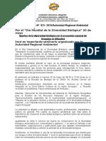 NOTA DE PRENSA N° 021 APORTES DE LA DIVERSIDAD BIOLÓGICA EN LA ECONOMÍA DE LA REGIÓN AREQUIPA VERÁN EN SEMINARIO EN EL DÍA MUNDIAL DE LA DIVERSIDAD BIOLÓGICA