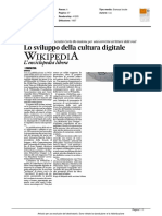 Wikipedia, lo sviluppo della cultura digitale - Il Corriere Adriatico del 19 maggio 2016