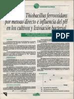 7 Aislamiento Thiobacillus Ferrooxidans Por Metodo Directo e Influencia Del PH en Los Cultivos y Lixiviacion Bacterial
