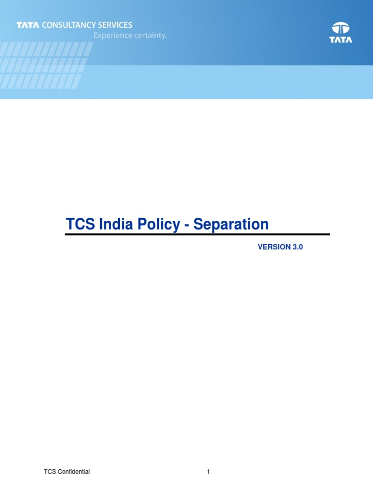 Tcs India Policy Separation Layoff Employment
