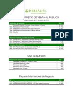 Herbalife Lista de Precios PVP 17 Mayo 2016 Venezuela
