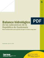 Balance Hidrologico Sub Cuencas Guatemala