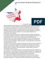 Communiqué Commun De Certains Syndicats Participants À L'intersyndical Du 23