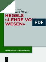 """(Hegel-Jahrbuch Sonderband 8) Andreas Arndt, Günter Kruck-Hegels """"Lehre Vom Wesen""""-Walter de Gruyter (2016)"""