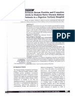 Correlation Between Serum Ferritin and C-reactive Protein Levels in Dialysis Naive Chronic Kidney Disease Patients in a Nigerian Tertiary Hospital