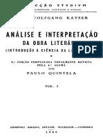 Kayser Wolfgang Analise e Interpretacao Da Obra Literaria Coimbra 1963