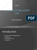 ESSF Topic 3 - Sources of Malaysian Law