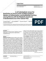 Comparative Effects of Carbohydrate Versus Fat Restriction on Serum Levels of Adipocytokines, Markers of Inflamation, And Endhotelial Function Among Woman With the Metabolic Syndrome, A Randomized Cross-over Clinical Trial