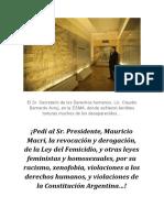 ¡Pedí al Presidente Mauricio Macri, la derogación y revocación, de la Ley del Femicidio...!