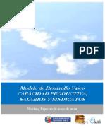 Modelo de Desarrollo Vasco. CAPACIDAD PRODUCTIVA SALARIOS Y SINDICATOS