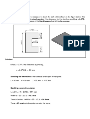 press tool : Calculation for Die & Punch Size