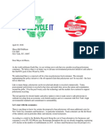 Letter to the Mayor Bill de Blasio on Recycling