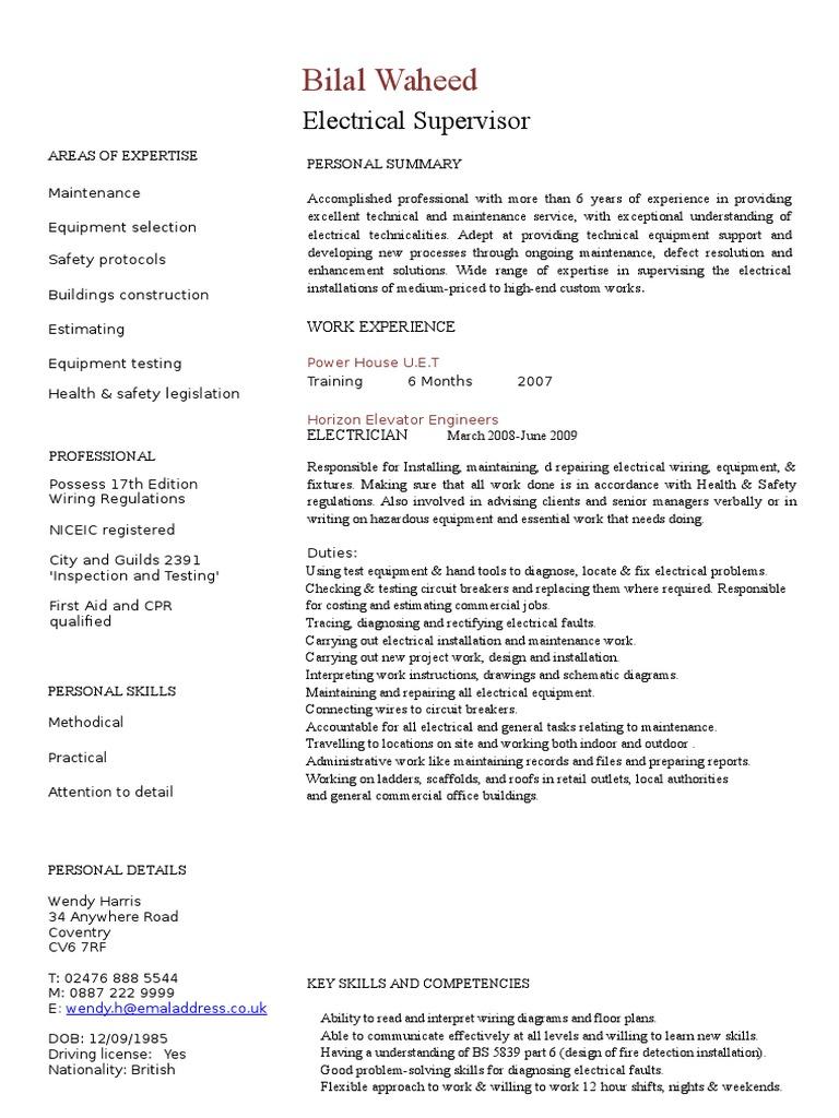 Electrician Cv Template Electrician Engineering