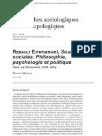 Renault Emmanuel, Souffrances Sociales