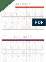 Calendar 2016 MondayStart