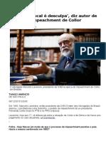 'Pedalada fiscal é desculpa', diz autor de pedido de impeachment de Collor | Folha de S.Paulo