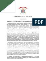 Arzobispado de Caracas pide respeto a la religión