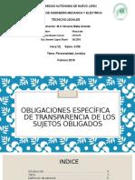 Obligaciones Específica de Transparencia de Los Sujetos Obligados
