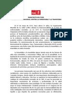 Manifiesto PSOE Día Internacional contra Homofobia y Transfobia 2010
