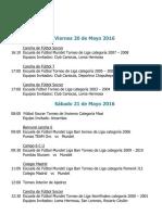 Actividades Fin de Semana 20, 21 y 22 de Mayo 2016