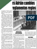 20-05-16 Consultará Adrián cambios a varios reglamentos regios