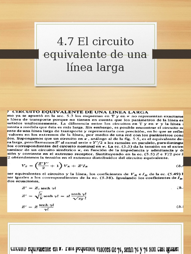 Circuito Z : 4.7 circuito equivalente de una linea larga