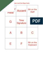 Faber Level One Bingo Cards