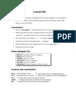 Teorie LIMBAJUL SQL Partea1 - Rezumat