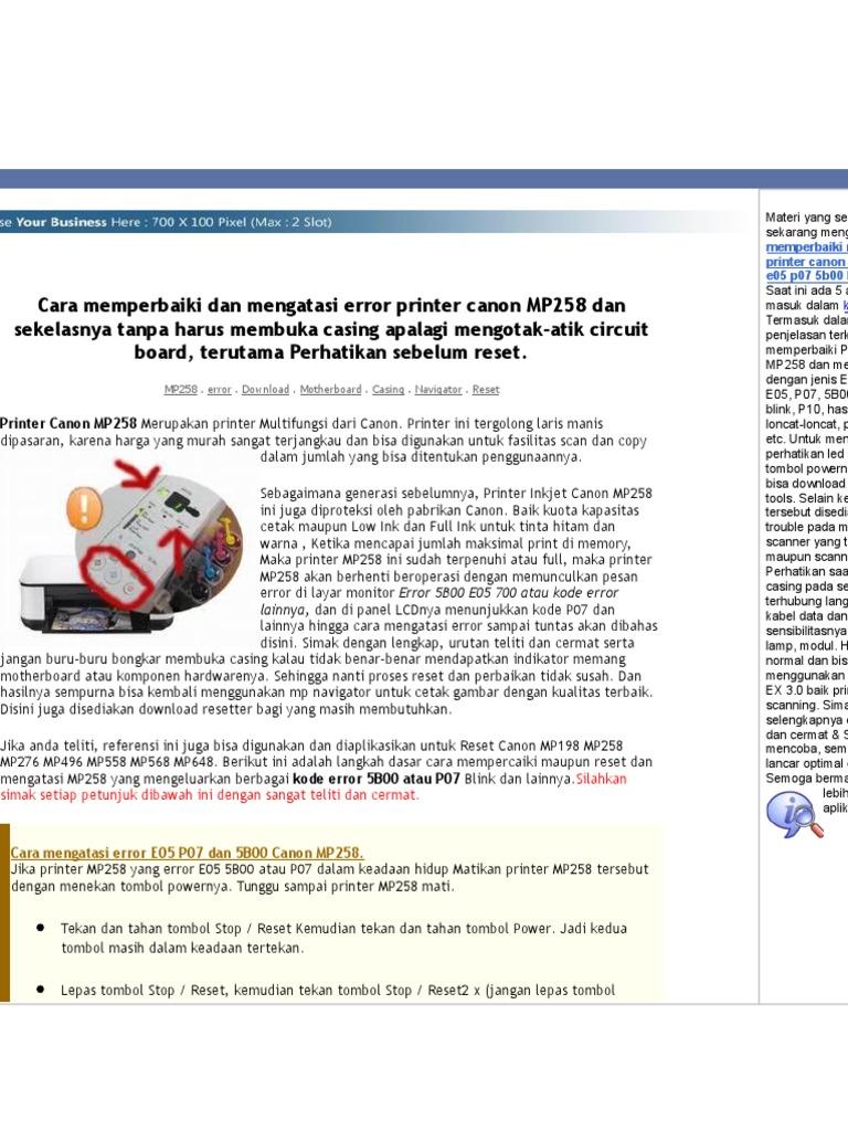 Cara Memperbaiki Dan Mengatasi Error Printer Canon Mp258