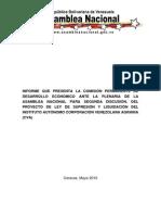 LEY DE SUPRESIÓN Y LIQUIDACIÓN DEL INSTITUTO AUTÓNOMO CORPORACIÓN VENEZOLANA  AGRARIA (CVA)