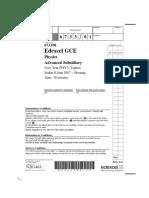 EdExcel a Level Physics Unit 3 Paper 1 Jun 2007