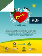 Política Pública de Infancia y Adolescencia del Departamento del Tolima 2008-2015