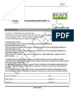 Byju Jee Advanced Sample Paper 1questions