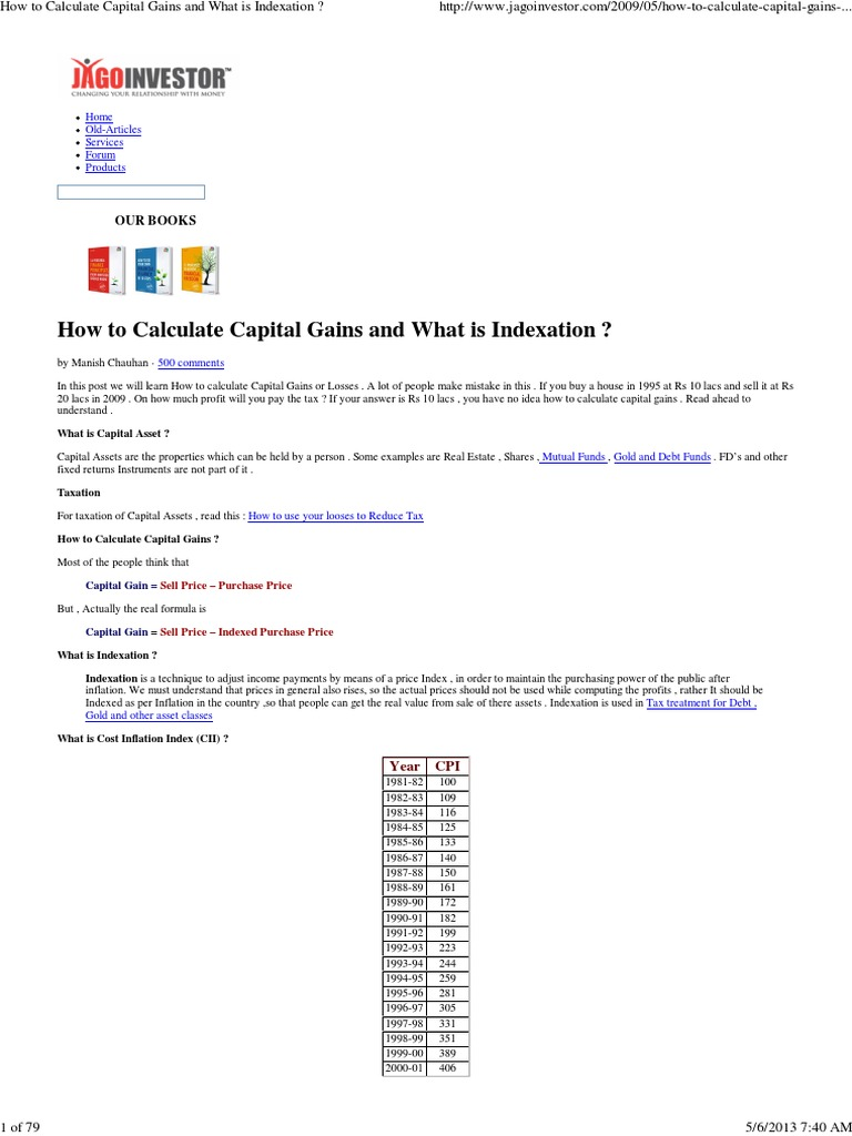 How to Calculate Capital Gains and What is Indexation