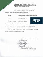 Certificate of Appreciation SC