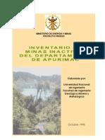Inventario de minas inactivas Apurimac, Resumen ejecutivo